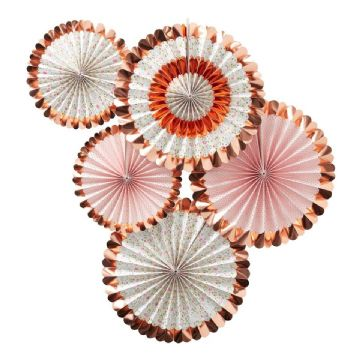 Rose Gold Ditsy Floral Pinwheel Fan Decorations - pack of 5